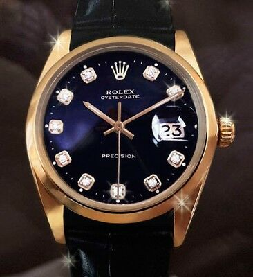 Rolex Oyster Date Precision vintage Mens watch 18K Gold GP black dial diamonds