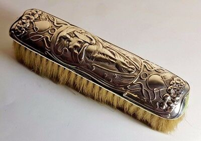 Antique Art Nouveau Sterling Silver Vanity Clothes Brush 1904 - Classical Maiden