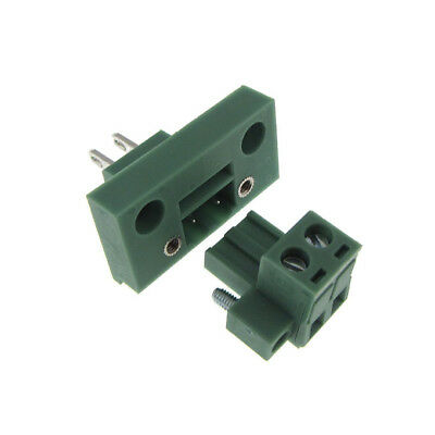 2 Positions 5.08mm Screw Terminal Block Front Flange Panel Mount
