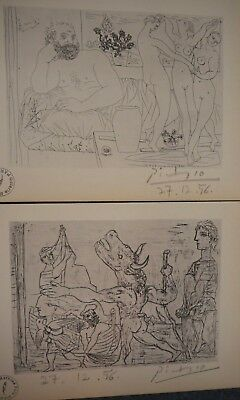 Pablo Picasso 2 Vollard Suite Lithograph prints hand Signed & stamp