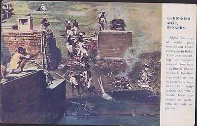 RARE ANTIQUE POSTCARD. INDIA. BURNING GHAT BENARES, EARLY 1900s. VERY UNUSUAL.