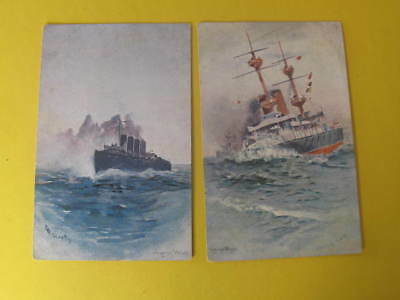 2 Artist drawn Ship Postcards by Seppings Wright The Scout & Battleship