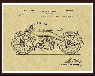 Harley davidson patent print motorcycle blueprint art engine harley davidson patent print motorcycle blueprint art poster gifts for him her malvernweather Gallery