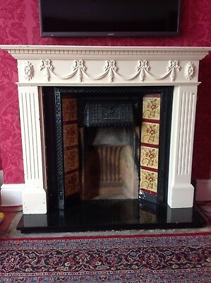 Victorian / Edwardian Fireplace tiled cast iron Insert original