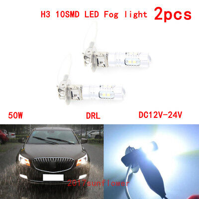2pcs H3 10 CREE LED 50W Xenon Super Bright White Fog Light Driving Lamp DRL Bulb