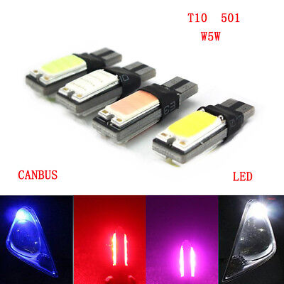 T10 Car Bulbs LED Canbus Error Free 2 COB Super Bright W5W 501 Side Light Lamp