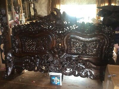 Magnificent 18th Century Hand Carved German Marriage Bed
