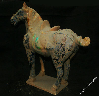 42cm Collect Chinese Tang Sancai Porcelain Pottery Horse Statue Z