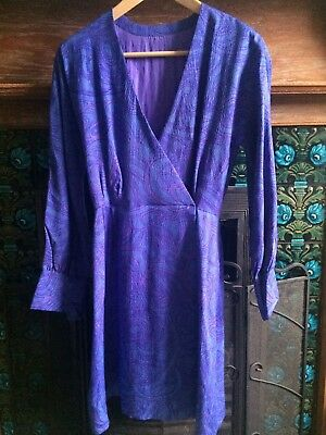 Vintage 60s Handmade Purple Wrap Dress Psychedelic Art Nouveau Swirl
