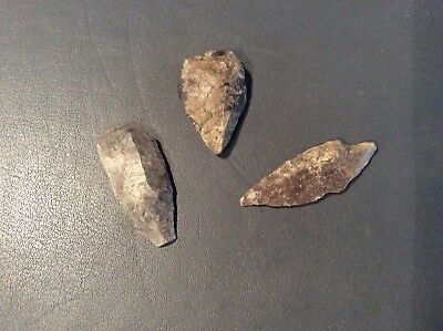 3 Neolithic Flint Arrow Heads