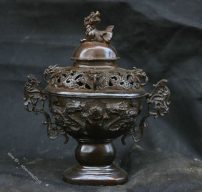 Collect Chinese brass bronze oval Dragon Loong brave troop incense burner censer