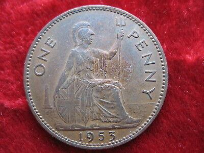 1953 English Penny, SCARCE DATE! HIGHER GRADE! Large 3CM Coin!