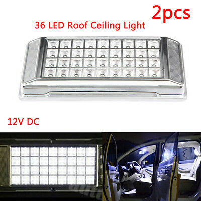 2x Universal White 36LED Car Roof light after market bright Dome overhead DC12V