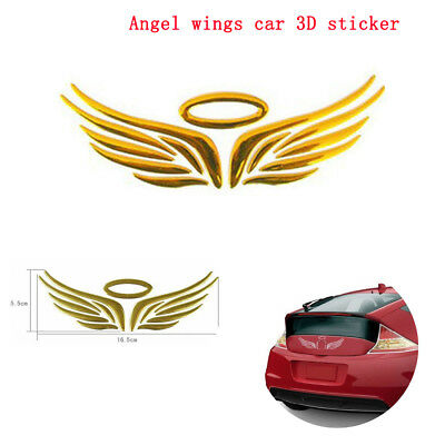 Chrome gold halo and angel wings car badge 3D logo decal self adhesive sticker