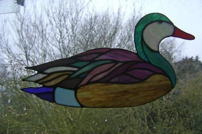 Vintage Stained Glass Duck - Leaded Panel to hang in window: Suncatcher