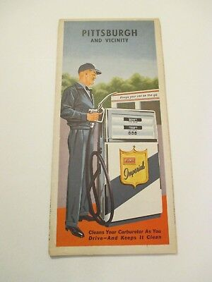 Vintage 1963 Imperial Pittsburgh PA Oil Gas Service Station City Road Map