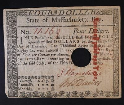 $4 Massachusetts Colonial Note - Hole Cancelled