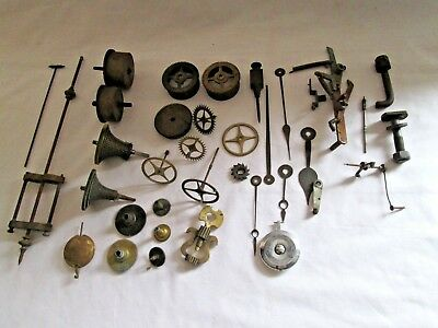 Antique / Old Clock Mixed Parts  Lot,cogs,hands, Spares Repair Brass Assembly