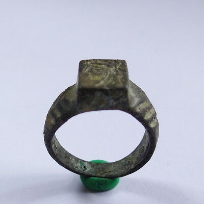 Greek  Ancient Artifact Bronze Ring With Alexander The Great And Lion Skin