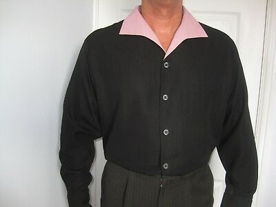 "1950s Vintage Style Black  Shirt made by ""Lansky Bros"""