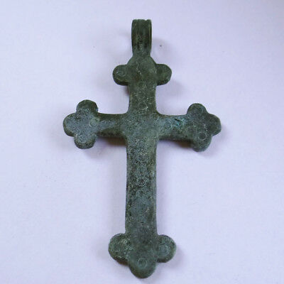 Medieval Ancient Artifact Bronze Cross Double Sides