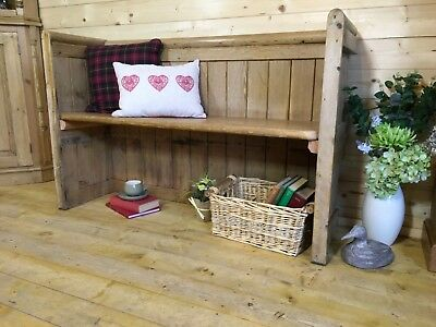 Rustic solid waxed pine wood church pew, monks bench settle, wooden hall seat