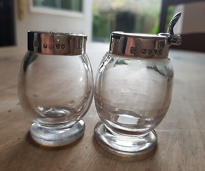 Silver hallmarked JTH & JHM London 1886 and glass cruet pepper and mustard pot.