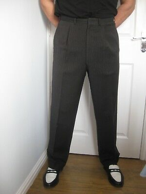 1950's Vintage Trousers Dark Grey with Black Stripe Waist 34 inches
