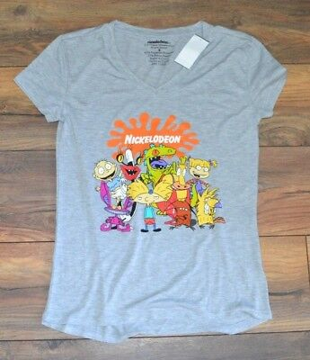 39fd48725289 Juniors V Neck T-Shirt Nickelodeon Character Tee Rugrats Hey Arnold Monsters