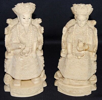 2 Vintage Chinese Deity, Emperor and Empress, Highly Carved, One signed