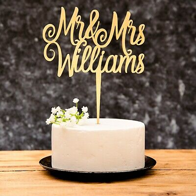 Personalised Calligraphy Mr & Mrs Wedding Cake Topper Wooden Silver Rose Gold
