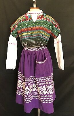 Vintage Guatemalan Mexican Novelty 1940s 50s Embroidered Peyote Tourist Skirt