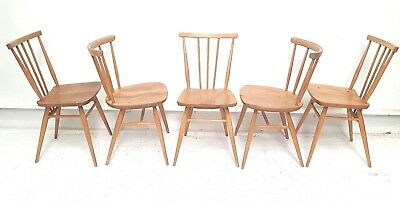 5 x Vintage Mid Century Blonde ERCOL  Rare 333 & 391 Blue Label Dining Chairs