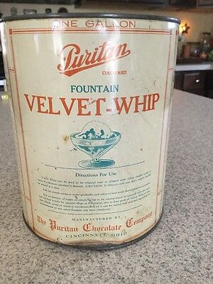 Antique Soda Fountain Velvet-Whip Tin