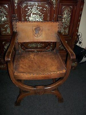 Antique Arts And Crafts Oak And Leather Large Chair
