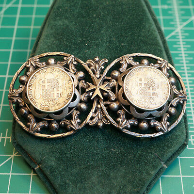Georgian Silver Buckle Set with 2 RARE Malta 6 Tari 1780 Emmanuel de Rohan Coins