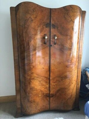 Large vintage Queen Anne wooden walnut wardrobe