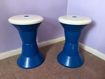 Pair Mid Century Folding Plastic Stools That Are Very Clever And Space Saving