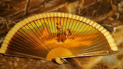 Antique Hand Fan Carved Wood Hand Painted Signed Boy Goats Made in Spain