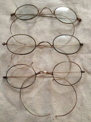 Lot Of 3 Antique Gold Filled Eye Glasses Spectacles