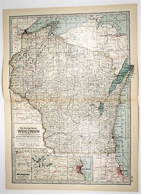 Milwaukee State Map.Antique Wisconsin State Map Xl Milwaukee Wi Old Print Art 1897