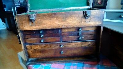 Oak Engineers Cabinet 8 Drawers Tool Chest .