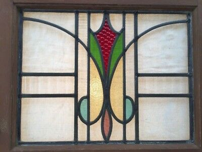 Antique 5 Color Stained Leaded Glass Window Architectural Salvage Arts Crafts