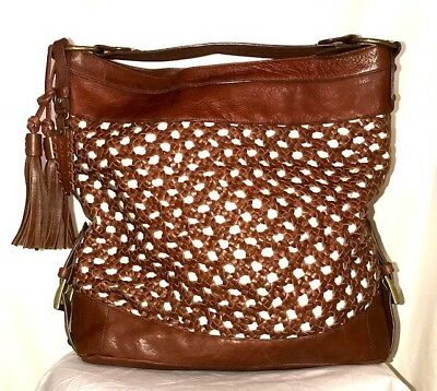 ISABELLA FIORE Brown EXTRA LARGE Woven Leather Hobo Tote Bag Handbag $595