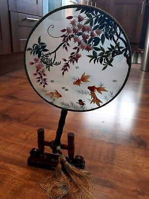 Chinese Handheld or Standing Round Fan with Presentation Stand and Box