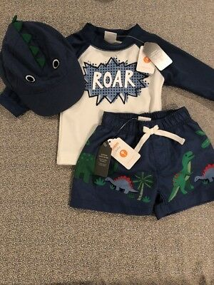 NWT Gymboree baby boy dinosaur bathing suit HAT 3-piece rashguard SET 3 6 9 12