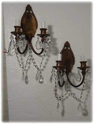Pair Antique French Ram's Head Bronze Sconces with Prisms