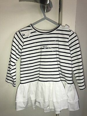 Seed Girls Stripped Frill Long Sleeve Top- Size 2