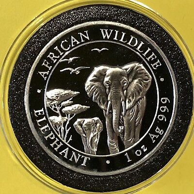 2015 African Wildlife Elephant Somali Coin Round 1 Troy Oz .999 Pure Fine Silver