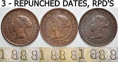 1888 One Cent Canada RPD Repunched Dates 3 - 1C Large Cents